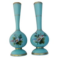 Pair Antique French Opaline Glass Vases Circa 1860