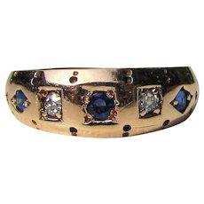 Antique Edwardian 14K Diamond & Sapphire Ring Circa 1910