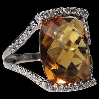 14K White Gold Golden Topaz Diamond Ring 20th Century