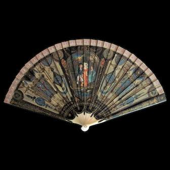 Antique Lacquered Brise Fan Circa 1890