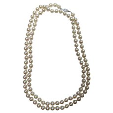 Vintage Cultured Pearl Necklace 14K Clasp 7.5mm 36""