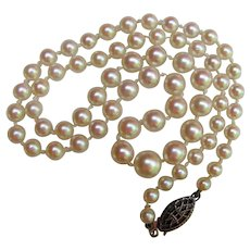 Vintage Cultured Pearl Necklace Sterling Clasp Graduated