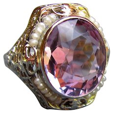 Antique Art Deco 14K White Gold Filigree Ring Amethyst and Seed Pearls 1930's