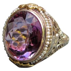 Antique Art Deco 14K Gold Filigree Ring Amethyst and Seed Pearls Circa 1930
