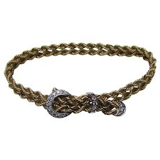 "Vintage 14K Diamond Buckle Bracelet .25cts.  8""  17.02 grams"