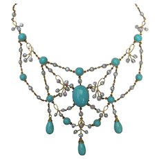Antique Edwardian 20K Turquoise & Pearl Festoon Necklace Circa 1910