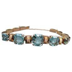 Vintage Retro Modern Art Deco 14K Aquamarine Bracelet Circa 1940