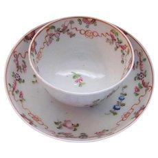 Antique Porcelain Teacup Teabowl and Saucer 18th Century