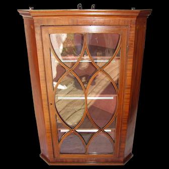 Antique English Georgian Mahogany Hanging Corner Cupboard 18th Century