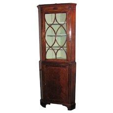 Antique English Georgian Mahogany Corner Cupboard Circa 1780