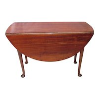 Antique English Mahogany Queen Anne Dropleaf Table Circa 1750