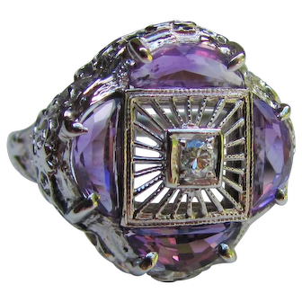 Antique Art Deco 14K Amethyst Diamond Ring 1920's