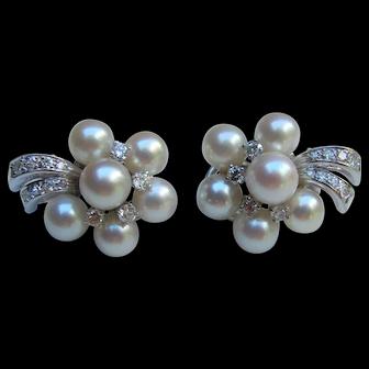 Vintage 14K Pearl & Diamond Earrings 1950's