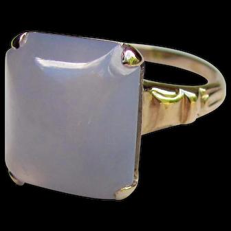 Vintage 10K Gold Purple Chalcedony Ring