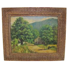 American Oil on Canvas Board Painting Signed Early 20th Century