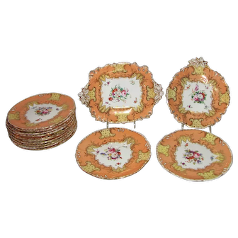 Antique Porcelain Hand Painted Dessert Set for 12 Circa 1850