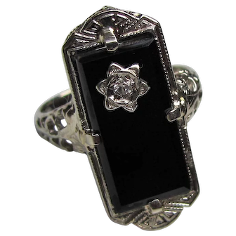 Antique Art Deco 14K White Gold Diamond Onyx Ring Circa 1930