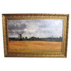 Dutch Landscape Oil on Canvas Painting Circa 1900