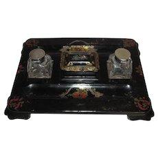 Antique English Victorian Paper Mache Inkwell Circa 1850