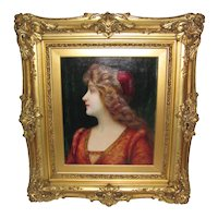 Antique French Oil on Canvas Painting Louis Justin Maurice Perrey 19th Century