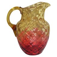 Antique American Hand Blown Reverse Amberina Glass Pitcher Circa 1890