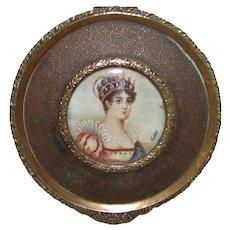 Antique French Portrait Miniature Jewelry Box Circa 1900
