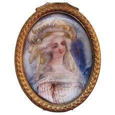 Antique French Portrait Miniature Trinket Box Circa 1900