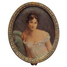 Antique French Portrait Miniature Trinket Box Circa 1910