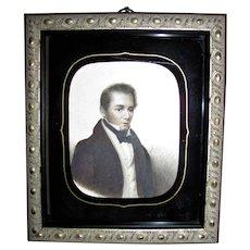 Antique Portrait Miniature on Card Verre Eglomise Glass Circa 1820