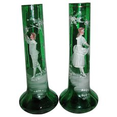 Pair Antique Mary Gregory Vases Circa 1880's.