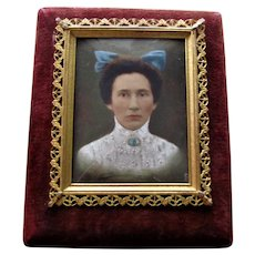 Antique Portrait Miniature Gold Plated Frame Circa 1900