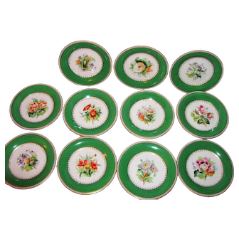 Antique Victorian Hand Painted Porcelain Dessert Set Circa 1850