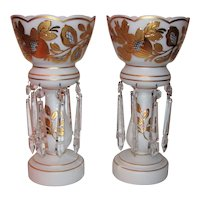 Pair Antique Victorian Cased Glass Mantle Lusters Circa 1900