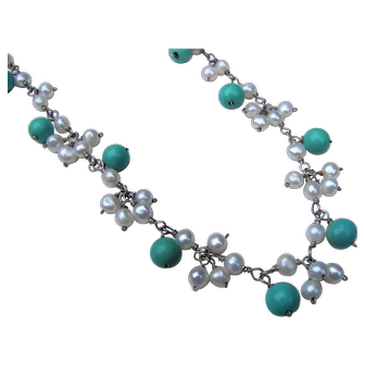 Vintage Sterling Silver Turquoise and Pearl Fringe Necklace