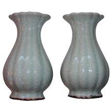 Pair Vintage Chinese Celadon Ice Crackle Glaze Vases 20th Century