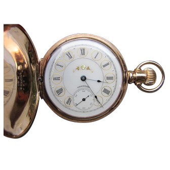 Antique 14K Gold Hampden Pocket Watch 1891