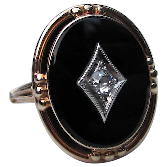 Vintage 10K Onyx and Diamond Ring Circa 1935