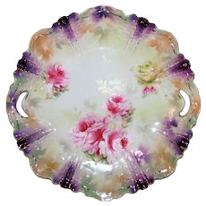 Antique RS Prussia Cake Plate Purple Luster Circa 1890
