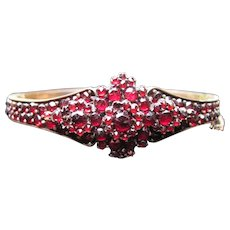 Antique Victorian Garnet Bangle Bracelet Circa 1860