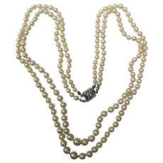 Vintage Double Strand Cultured Saltwater Pearl Necklace Circa 1950