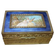 Antique French Cigarette Box Enamel with Miniature Painting Circa 1910