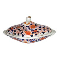 Antique English Gaudy Welsh Covered Serving Dish Circa 1830's