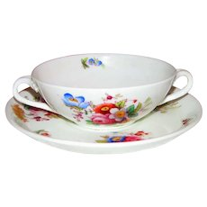 Antique Coalport Soup Bowl with Underplate Sevres Series 1891-1919