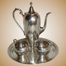 Vintage Gorham Mid Century Modern Sterling Silver Coffee Service 4 Piece