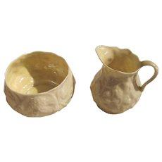 Belleek Porcelain Lotus Cream and Sugar Third Mark