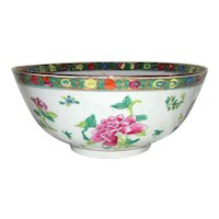 Vintage Chinese Famille Rose Bowl Mid 20th Century Hong Kong