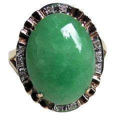 Vintage 14K Jadeite Jade And Diamond Ring
