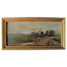 Antique Miniature Oil Painting Signed and Dated 1918