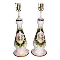 Pair Antique Victorian Hand Painted Bristol Glass Lamps
