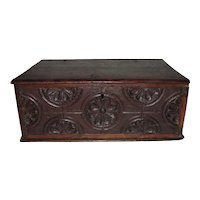 Antique English Oak Bible Box 17th Century